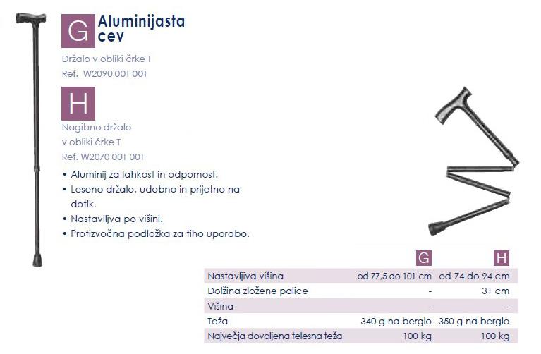 Aluminijasta sprehajalna palica