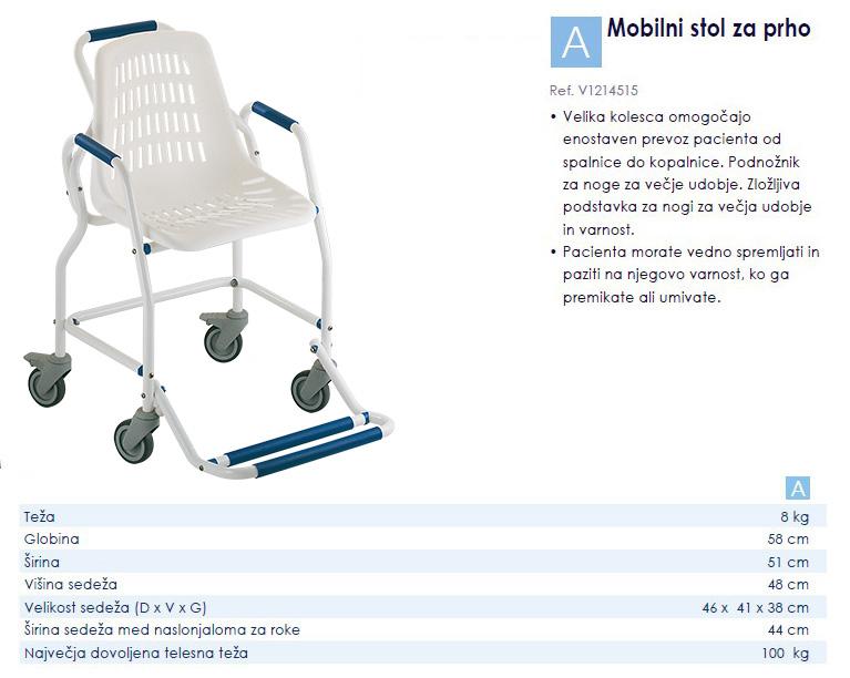 Mobilni stol za tuširanje
