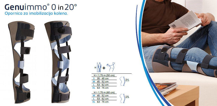 Opornica za imobilizacijo kolena genu immo
